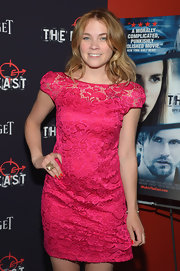 Lenay Dunn looked darling in a bright pink lace dress at the premiere of 'The East.'
