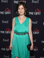 Aleksa Palladino's intricate gemstone belt was a glam finish to her dress at the premiere of 'The East.'