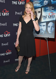 Patricia Clarkson added some shine to her look with a pair of gold evening sandals.