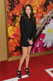 Julia paired her Diane von Furstenberg shorts with a tailored black blazer.