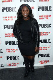 Danielle Brooks attended the opening of 'Eclipsed' looking tough in a black leather biker jacket.