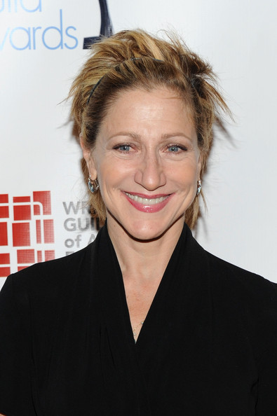 Edie Falco Messy Cut [hair,hairstyle,blond,eyebrow,chin,forehead,premiere,smile,long hair,brown hair,arrivals,edie falco,new york city,hudson theatre,writers guild awards,annual writers guild awards]