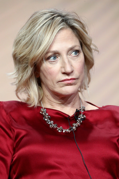 Edie Falco Short Wavy Cut [hair,face,blond,hairstyle,lady,eyebrow,beauty,chin,lip,layered hair,edie falco,portion,the beverly hilton hotel,beverly hills,california,law order true crime: the menendez murders,nbcuniversal,summer tca,summer television critics association press tour]