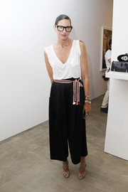 Jenna Lyons glammed up her simple outfit with a pair of chic black-and-white strappy sandals.