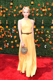 Emma Roberts looked perky in a yellow maxi dress by Christine Alcalay during the Veuve Clicquot Polo Classic.