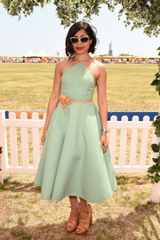 Freida Pinto looked very summery in a green gingham halter dress by Michael Kors at the Veuve Clicquot Polo Classic.