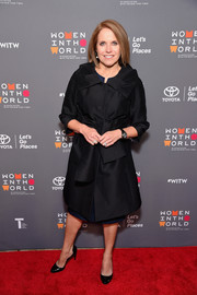 Katie Couric attended the Women in the World Summit wearing an elegant black coat.