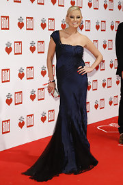 Jenny Elvers-elbertzhage wore a navy single-strapped evening dress with chiffon godets for the Ein Herz Fuer Kinder Charity Gala.