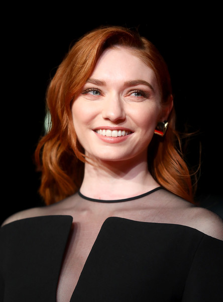 Eleanor Tomlinson Medium Wavy Cut [hair,face,facial expression,eyebrow,lip,hairstyle,beauty,smile,chin,skin,colette,eleanor tomlinson,uk,london,england,bfi patrons gala,bfi patrons,premiere,bfi london film festival,gala]