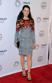 Lucy Liu went for a conservative yet stylish look with this Roberto Cavalli print dress at the 'Elementary' panel during PaleyFest.