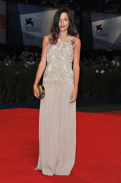 Eleonora Carisi Metallic Clutch [superstar premiere,red carpet,carpet,dress,clothing,fashion model,gown,flooring,fashion,premiere,hairstyle,superstar,eleonora carisi,venice,italy,palazzo del cinema,the 69th venice film festival,premiere]