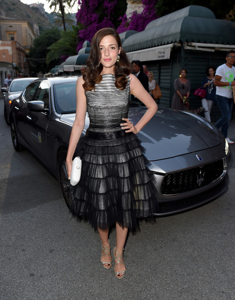 Eleonora Carisi Cocktail Dress [maserati arrivals,eleonora carisi,luxury vehicle,vehicle,car,automotive design,auto show,lady,beauty,fashion,personal luxury car,supercar,taormina film fest,taormina,italy]