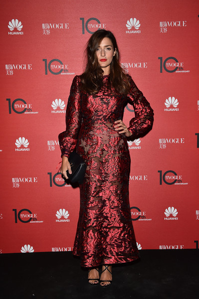 Eleonora Carisi Strappy Sandals [red carpet,clothing,carpet,red,dress,premiere,flooring,fashion,hairstyle,fashion design,eleonora carisi,milan,italy,vogue china 10th anniversary,palazzo reale]
