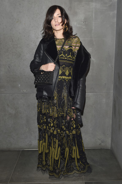 Eleonora Carisi Leather Jacket [clothing,fashion,sari,fashion design,formal wear,outerwear,long hair,costume,dress,fashion model,eleonora carisi,fw17,milan,italy,dsquared2 volt party,milan fashion week]