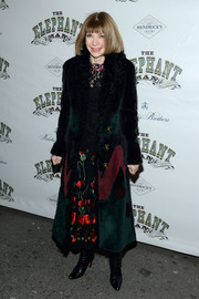 Anna Wintour bundled up in style with a colorful fur coat for the 'Elephant Man' opening night.