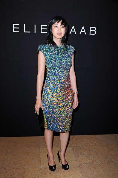 Linh Dan Pham showed off her abstract print dress while hitting the Elie Saab Couture show.