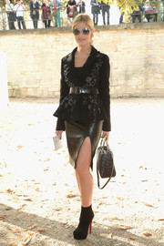Lala Rudge looked tres chic in a fitted black sequin jacket during the Elie Saab fashion show.