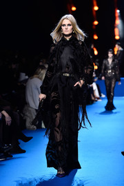 Toni Garrn rocked a heavily fringed black gown on the Elie Saab runway.
