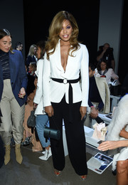Laverne Cox completed her outfit with a pair of black slacks.