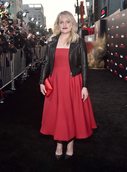 Elisabeth Moss Leather Jacket [the handmaids tale,season,red carpet,clothing,red,premiere,fashion,dress,carpet,red carpet,flooring,pink,event,elisabeth moss,hulu,tcl chinese theatre,california,premiere,premiere,season]