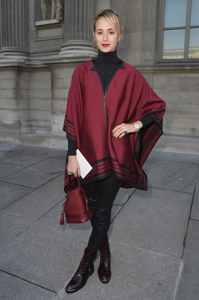 Elisabeth von Thurn und Taxis Cape [clothing,fashion,red,outerwear,maroon,street fashion,footwear,cape,costume,mantle,outside arrivals,elisabeth von thurn und taxis,part,paris,france,louis vuitton,paris fashion week womenswear fall]
