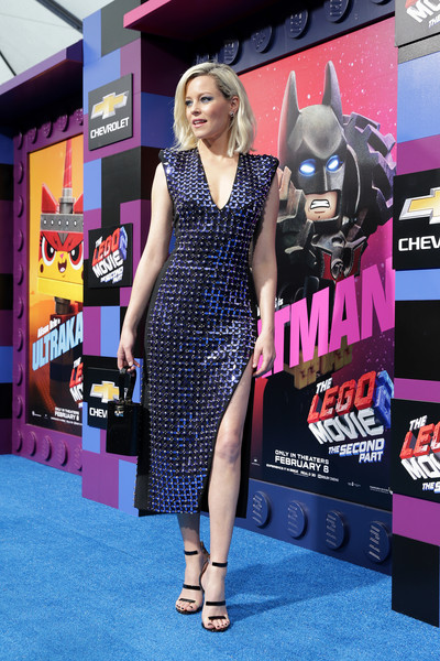 Elizabeth Banks Strappy Sandals [the lego movie 2: the second part,red carpet,carpet,clothing,dress,flooring,premiere,fashion,footwear,little black dress,fashion design,elizabeth banks,regency village theatre,california,westwood,warner bros. pictures,red carpet,premiere]
