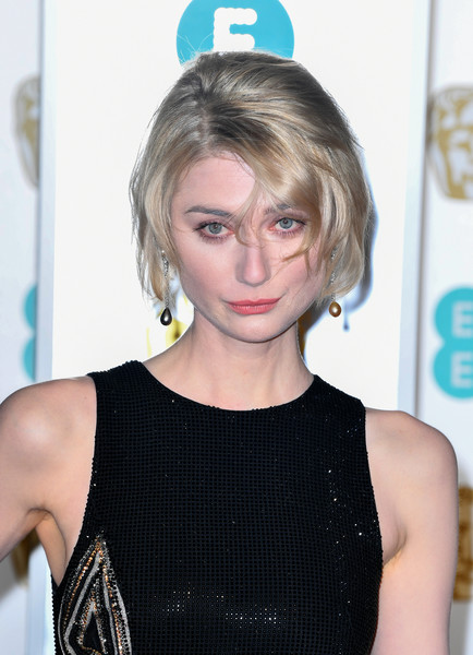 Elizabeth Debicki Bob [hair,blond,face,hairstyle,beauty,shoulder,dress,bangs,cocktail dress,premiere,red carpet arrivals,elizabeth debicki,ee,london,england,royal albert hall,british academy film awards]