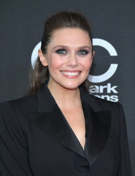 Elizabeth Olsen Half Up Half Down [elizabeth olsen,hair,hairstyle,eyebrow,beauty,white-collar worker,smile,suit,official,formal wear,premiere,annual hollywood film awards - arrivals,beverly hills,california,the beverly hilton hotel]