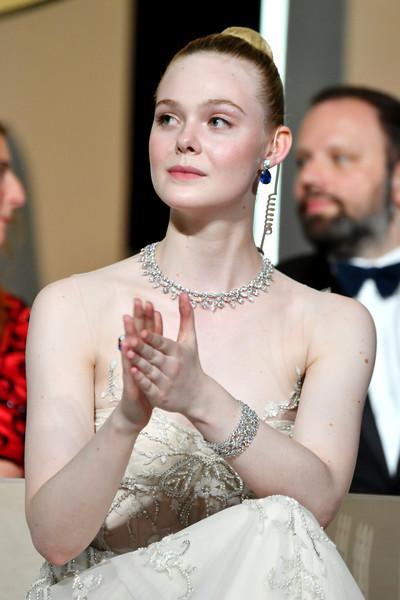 Elle Fanning Diamond Bracelet [lady,fashion,beauty,skin,hairstyle,dress,tradition,event,haute couture,fashion accessory,elle fanning,stage,cannes,france,annual cannes film festival,cannes film festival]