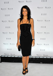 Veronica Webb chose elegant black heels with strappy cut outs to add pizazz to a strapless beaded cocktail dress.