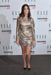 Julia Restoin-Roitfeld chose an H&M Conscious Exclusive mini dress featuring a subtle painterly print for her Elle Style Awards look.