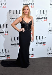 Ellie Goulding was boudoir-glam in a black lace-neckline corset gown by Stella McCartney at the Elle Style Awards.