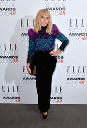 Paloma Faith paired her top with black velvet pants, also by Armani Privé.