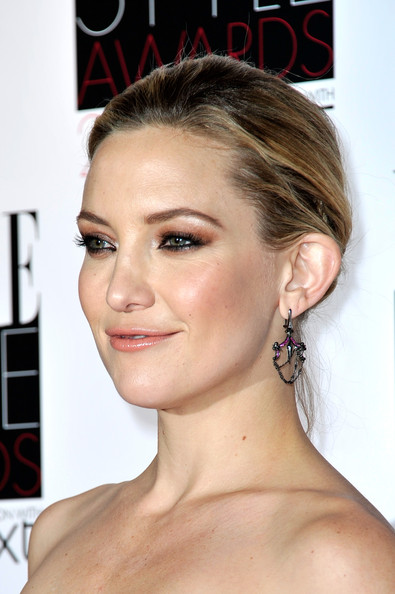 More Pics of Kate Hudson Classic Bun (1 of 8) - Updos Lookbook - StyleBistro [hair,face,hairstyle,eyebrow,chin,forehead,cheek,beauty,ear,lip,elle style awards,the savoy hotel,london,england,inside arrivals,kate hudson]