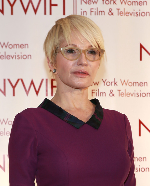 Ellen Barkin Short Cut With Bangs [hair,eyewear,hairstyle,blond,glasses,vision care,premiere,hair coloring,layered hair,bangs,arrivals,ellen barkin,new york city,new york hilton,new york women in film and television,muse awards,annual muse awards]