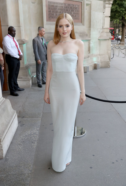 Ellie Bamber Strapless Dress [clothing,white,dress,shoulder,gown,fashion,lady,haute couture,wedding dress,fashion model,arrivals,ellie bamber,london,england,v a,summer party,summer party]