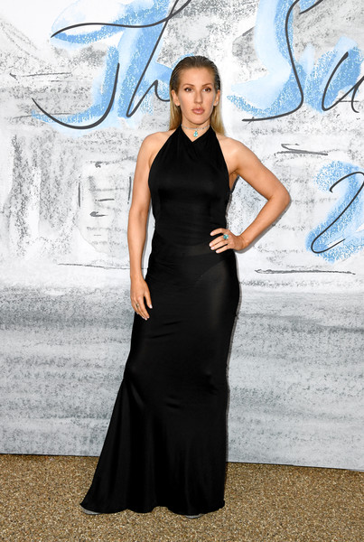 Ellie Goulding Halter Dress [dress,clothing,fashion,fashion model,beauty,little black dress,formal wear,haute couture,electric blue,gown,ellie goulding,england,london,serpentine galleries,chanel,summer party,red carpet arrivals,the serpentine gallery,the summer party]