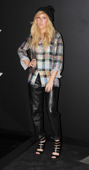 Ellie Goulding Strappy Sandals [fashion model,fashion,runway,catwalk,denim,plaid,jeans,outerwear,pattern,design,london,england,the old sorting office,world premiere of the new mini,ellie golding]