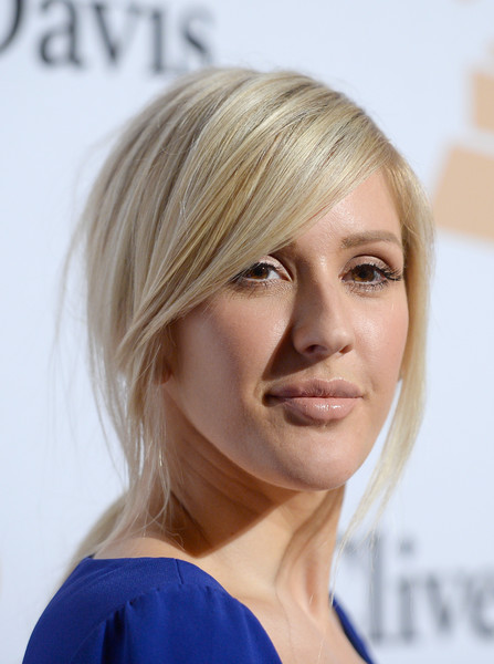Ellie Goulding Nude Lipstick [hair,blond,human hair color,hairstyle,eyebrow,chin,layered hair,bangs,forehead,bob cut,irving azoff,ellie goulding,arrivals,salute to industry icons,beverly hills,california,the beverly hilton hotel,pre-grammy gala]