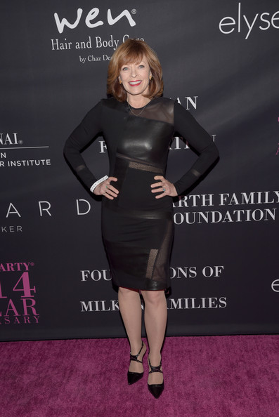 Frances Fisher rocked a leather-and-mesh-panel LBD during the Pink Party.