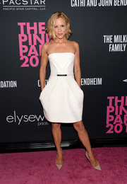 Maria Bello went for a modern vibe at the Pink Party in a white Kaufmanfranco strapless dress with folded detailing.