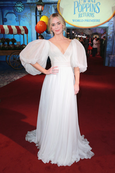 Emily Blunt Princess Gown [mary poppins returns,gown,flooring,dress,carpet,beauty,shoulder,lady,joint,wedding dress,red carpet,red carpet,emily blunt,california,los angeles,el capitan theatre,disney,premiere]