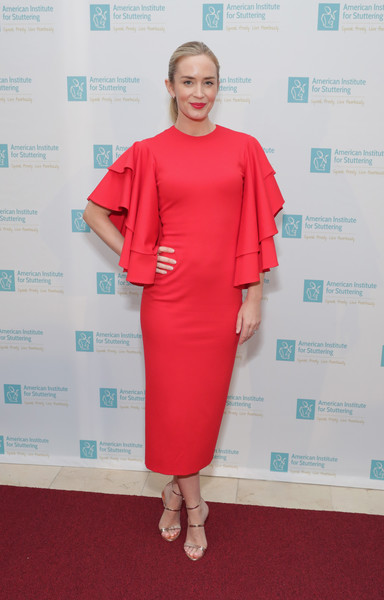 Emily Blunt Strappy Sandals [clothing,red,dress,shoulder,red carpet,carpet,pink,joint,fashion,cocktail dress,emily blunt,new york city,american institute for stuttering 11th annual freeing voices changing lives benefit gala,guastavino,voices changing lives gala]