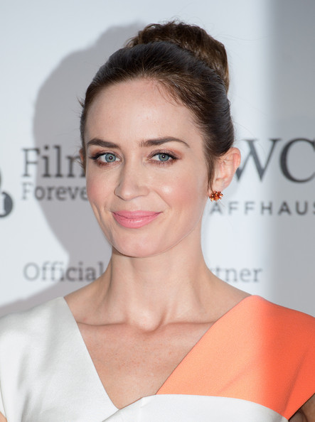 Emily Blunt Classic Bun [hair,face,hairstyle,eyebrow,skin,chin,lip,shoulder,beauty,cheek,emily blunt,honour,battersea evolution,london,england,iwc,iwc gala,bfi,gala dinner,dinner]