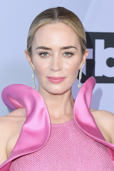 Emily Blunt Classic Bun [hair,face,lip,pink,blond,skin,hairstyle,cheek,eyebrow,beauty,arrivals,emily blunt,screen actors guild awards,screen actors\u00e2 guild awards,california,los angeles,the shrine auditorium]