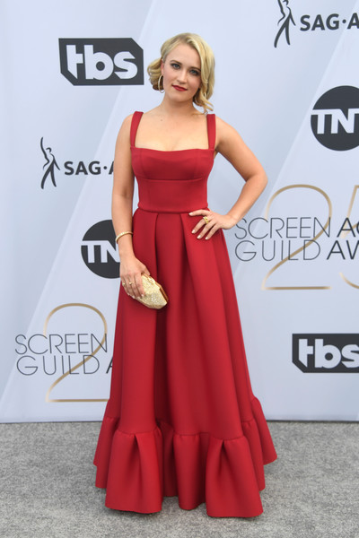 Emily Osment Metallic Clutch [dress,clothing,shoulder,red carpet,gown,carpet,red,a-line,fashion model,fashion,arrivals,emily osment,screen actors guild awards,screen actors\u00e2 guild awards,california,los angeles,the shrine auditorium]