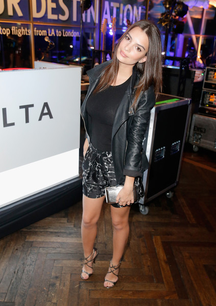 Emily Ratajkowski Metallic Clutch [clothing,fashion,dress,leg,footwear,event,premiere,photography,shoe,fashion design,charli xcx,emily ratajkowski,grammy,model,performance,west hollywood,delta air lines,airline,celebration,kick-off party]