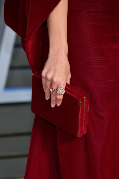 Emily Ratajkowski Diamond Ring [red,clothing,fashion,maroon,outerwear,haute couture,dress,hand,leather,electric blue,emily ratajkowski,radhika jones - arrivals,radhika jones,fashion detail,belvedere,beverly hills,california,wallis annenberg center for the performing arts,oscar party,vanity fair]