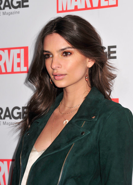 Emily Ratajkowski Long Wavy Cut [hair,hairstyle,black hair,lip,long hair,premiere,layered hair,brown hair,leather,outerwear,emily ratajkowski,new york city,marvel and garage magazine,new york fashion week,event]