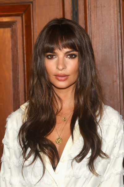 Emily Ratajkowski Long Wavy Cut with Bangs